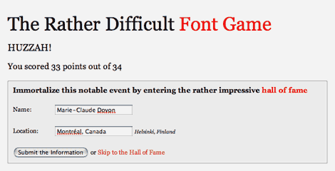 My Font Game score