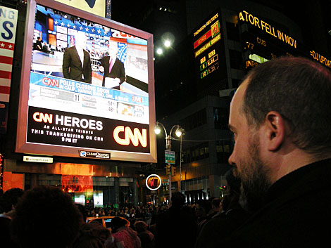 Obama as president on Times Square